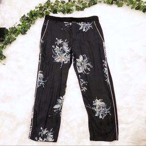 Zara Black Floral Silky Trouser Cropped Pants